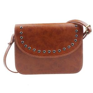 Handbags - Studded Brown Messenger Bag